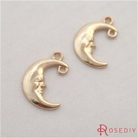 Wholesale Diy Charms Gold - Wholesale-(29356-G)10PCS 15*12MM Champagne gold Color Plated Zinc Alloy Moon Charms Diy Handmade Jewelry Findings Accessories Wholesale