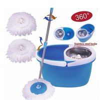 Wholesale Microfibre Mop Cloth - BLL-22B 360°Rotating Stainless Steel 2 Heads Magic Mop Dehydrate Basket Blue