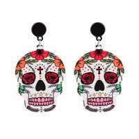 mexikanische ohrringe großhandel-Calavera Kreuz-Schädel-Ohrringe feiern mexikanischen Tag der toten Halloween Acryl niedlichen Schädel-Ohrring für Frauen