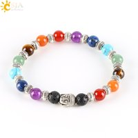Wholesale amethyst buddha - CSJA 7 Chakra Tibetan Silver Plated Bracelet for Women Black Lava Jade Beads Reiki Buddha Prayer Natural Stone Yoga Jewelry E282