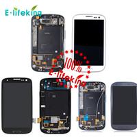 mavi s3 dokunmatik ekran toptan satış-Samsung Galaxy S3 i9300 için Lcd Dokunmatik Ekran Digitizer Displaiy Çerçeve ile Tam Meclisi Tamir Parçaları + Ücretsiz DHL Kargo + SiyahMaviBeyaz