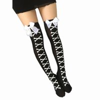 Wholesale Over Knee Warm Boots - Wholesale- winter women stocking warm over knee Polyester girl Long Over Knee Thigh-High Stocking Boot girl printing Polyeste calzas hoser