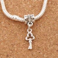 Wholesale Antique Small Key - Small Key Big Hole Beads 100pcs lot 6.3x26 mm Antique Silver Dangle Fit European Charm Bracelets B877
