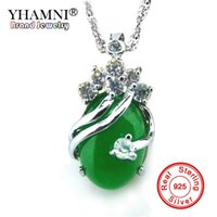 Wholesale Real Green Jade - YHAMNI New Real 925 Sterling Silver Pendant Necklace Natural Malay Stone Green Gem Crystal Necklace Jewelry For Women MLY808