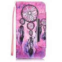 Wholesale Printing Folder - Fashion Flower Printing Leather Flip Wallet Silicone Back Cover with Big Magnet Folder Wrist Strap for Iphone 6 7 plus Samsung S6 S7 Edge