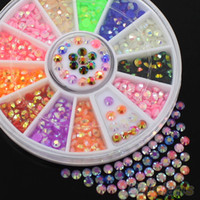 Wholesale- Colorful Fluorescent 3D Acrylic Glitters DIY Decal Nail Art Stips Stickers Wheel 4XHO