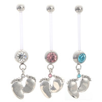 Wholesale Pregnant Belly Rings - CZ Pregnant Maternity Navel Belly Ring Piercing Body Jewelry Baby Feet Button Rings For pregnancy Women