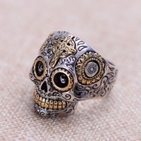 Wholesale Sterling Silver Skull Rings - S925 sterling silver jewelry retro fashion skull men's fashion ring