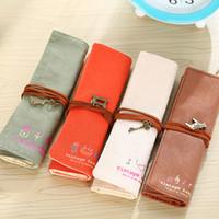 Wholesale Retro Fabric Curtains - Wholesale- 1PCS South Korea stationery bag large canvas bag retro curly cute pupil pen pen curtain