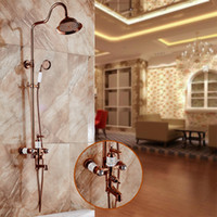 Wholesale Gold Finish Shower Taps - Free Shipping Luxury NEW Rose Gold Finish Rainfall Marble Shower Set Faucet + Tub Mixer Tap + Handheld Shower Wall Mounted HS049
