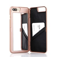 Wholesale Iphone Cover Make Up - 2017 Luxury Lady make up 3D Dual Layer Card Slot Wallet Mirror Case cover For iPhone 7 6 6S 6 Plus 6S iphone 5 5s