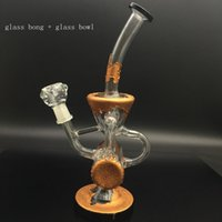 Wholesale Copper Pipe Bending - Newest copper plating glass bongs water pipe dab oil rigs glass pipe beaker bongs water bongs with 14mm glass bowl quartz banger nail
