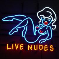 ingrosso ragazza, bar, neon, luce, segno-Lives Nudes Bar Girl Handcrafted Neon Sign Sign Neon Sign Glass Glass Beer Bar Pub Sala ricreativa Sala giochi Windows Wall Sign 19x15