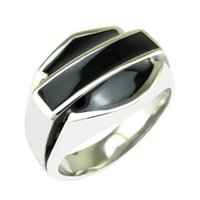 Band Rings black enamel - Punk L Stainless Steel Heart Black Enamel Biker Motor Head Ring