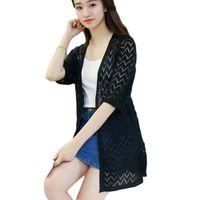 Wholesale Ladies Summer Lace Cardigan - Wholesale-Summer Knitted Sweater Women Cardigan Female Korean Style Autumn 2016 Ladies Knitting Lace Crochet Long Cardigan Feminino