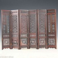 Hand-carved Chinese Boxwood Sculpture Folding Screen Jewelry Gift Christmas