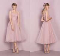 Wholesale Women Ruffled Tank - 2107 Sexy V Neck Short Blush Pink Bridesmaid Dresses Sleeveless Tea Length Tank Straps Pleats Tulle Women Wedding Party Gowns