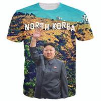 Wholesale Top Fashion Brands Korea - Wholesale-Raisevern 2016 brand new t shirt 3D print North Korea Kim Jong Un tee shirt casual short sleeve t-shirts men women fashion top