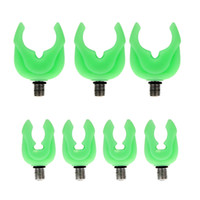 Barato Titulares De Rod Na Pesca Da Carpa-4pcs Luminous Green Silicone Fishing Rod Holder Telescópico Fishing Rod Support Stand Head Carp Fishing Accessories