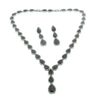 """Wholesale Girls Red Cherry Set - Natural Gemstone Fashion Jewelry Sets Necklace Earrings 925 Sterling Silver Cherry Ruby White Topaz Beautiful Gifts 16""""INCH"""