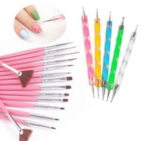 Wholesale 20Pcs Set Pink Nail Art Paint Dot Draw Pen Brush for UV Gel Decoration Tool Dotting Painting Drawing Polish Brush Pen