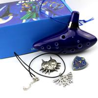 zelda flöte großhandel-Legend of Zelda Blue Keramik Ton Zelda Ocarina Flöte der Zeit 12 Löcher Alto C Flöte Orcarina Musikinstrument