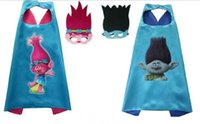 Wholesale Kids Cotton Mask - trolls double layer cape children Cosplay capes Halloween Party Costumes for Kids clothes 1pcs mask+1pcs cape XT