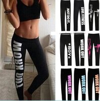 Wholesale sexy work out clothing online - 100pcs Women Clothing WORK OUT Letters Leggings Slim Sexy Sportswear Gym Sports Fitness Leggings Winter Pants