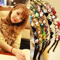 Wholesale Noble Bohemian - Free Shipping Women Crystal hair band hair clip loop Colorful Noble crystal Headband Hairpin jewelry Fashion Hair Accessories