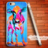 Wholesale Iphone 5c Cases Colours - Fundas Coloured Cow Pattern Soft Clear TPU Case for iPhone 6 6S 7 Plus 5S SE 5 5C 4S 4 Case Silicone Cover.