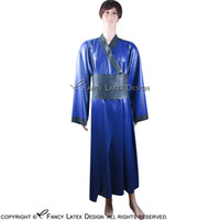Wholesale Latex Dressing - Blue With Black Japaness Sexy Latex Kimono With Obi Band Belts Robe Rubber Dressing Gown Pajamas