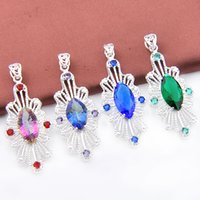 Mix Color 4PCS / Lot Classic Fire Blue Topaz Green Quartz Mystic Topaz Gemstone Vintage 925 Pendentifs Argent pour Collier Party Holiday Gifts