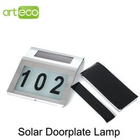 All'ingrosso LED 1PCS solare Doorplate lampada 2LEDs LED a luce bianca Casa Numero luce solare LED Night Light