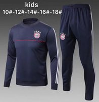 Wholesale Child Suits - Kids 17 18 tracksuit kit training suit child LEWANDOWSKI JAMES Soccer jersey 2017 2018 NEUER VIDAL MULLER ROBBEN RIBERY Football long sleeve