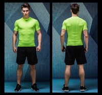 Wholesale Fitness Motion - Men Compression Short Sleeve Crew Quick Dry Breathable Fitness Tight T Shirts Tops Men's Summer Tee Solid Color Motion Shirt O Neck