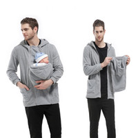 Wholesale Carrying Babies - Men's Autumn Baby Carrier Hoodie Zip Up Maternity Kangaroo Hooded Sweatshirt Pullover 2 In 1 Baby Carriers 2114023