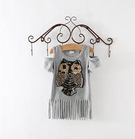 Wholesale Girls Owl Short Sleeve - Sequins Owl Kids girls long T shirt Short sleeve children tassel skirst kids dress for girl top clothes clothing Summer Spring girl's dress