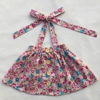 Wholesale Skirt Dresses Girls - hot selling high quality girl dress cotton printing belt skirt wooden buckle decorative dress skirt baby girl floral dress