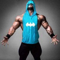 Wholesale Casual Loose Mens Vest - Mens Print Loose Sports Fitness Hoodies Tank Tops For Men Casual Bodybuilding Workout Gym Hooded Sleeveless T-Shirts Vests Tanks XXL