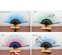 "Wholesale Chinese Fabric Fans For Dances - 8.27 "" Women Hand Held Silk Folding Fans with Bamboo Frame for Gifts Chinese   Japanese Style Butterflies Morning Glory Flowers Patt"