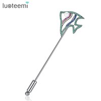 Wholesale Muslim Hijab Pins - Cute Fish Shape Brooch Pins For Women Sparkling Multi Cubic Zirconia Hijab Muslim Scarf Brooches Top Quality Jewelry LUOTEEMI