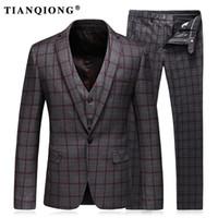 Wholesale Modern Jacket Men - Mens Suits Slim Fit (Jacket+Vest+Pants) Set Modern Latest Coat Pants Designs Solid Color Blue Tuxedo Prom Suits 2017