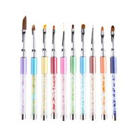 Wholesale Extender Tip - Wholesale- 10 Way Nail Art Brush Metal Rhinestone Handle For Gel Polish Tips Extender Painting Carving Polishing 3D Decor Pro Manicure Pen