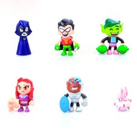 Wholesale Titan Action Figure - Teen Titans GO 5cm Action Figure 6pcs set Raven With Ancient Spells Book Accessories High Quality PVC Rare Collection Gift