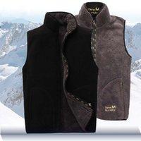 Wholesale Fleece Waistcoats - Wholesale- Men Warm Fleece Vest Winter Thick 2 Sides Wearing Casual Waistcoat Windproof Sleeveless Jacet