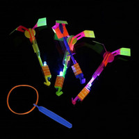 Wholesale Led Light Parachute Helicopter - LED Arrow Flying Parachute LED Amazing Helicopter Umbrella Light Flash Toy Space UFO Halloween Christmas Kids Young Adult