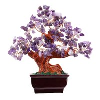 Wholesale Feng Shui Tree - Amethyst Quartz Gem Stone Money Tree7 Inch Purple Crystal Money Tree Feng Shui Natural