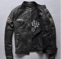 Wholesale First Motorcycle Jacket - REDSKINS Man bomber jackets Men's genuine leather coats The first layer cowhide motorcycle clothing US Sweden