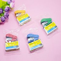 Wholesale Cheap Pliers - Mini Style Cheap Stapler Staple Set with No. 10 Staples Stationery Candy Stapler Grampeador Office School Supplies