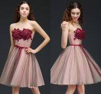 Wholesale Bridesmaid Short Peach Sexy - Peach Tulle A Line Burgundy Flower New Designer Short Prom Dresses Knee Length Graduation Homecoming Dresses Cocktail Party Dresses CPS660